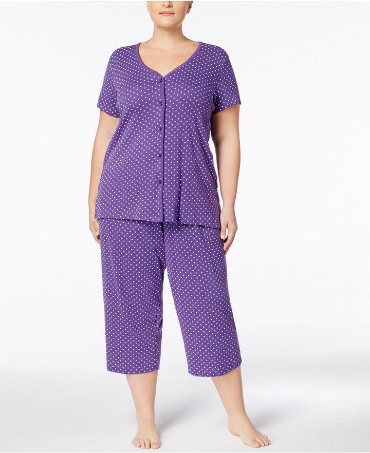 3be3e3e150ea Charter Club Plus Size Printed Picot-Trim Cotton Pajama Set, Created for  Macy's