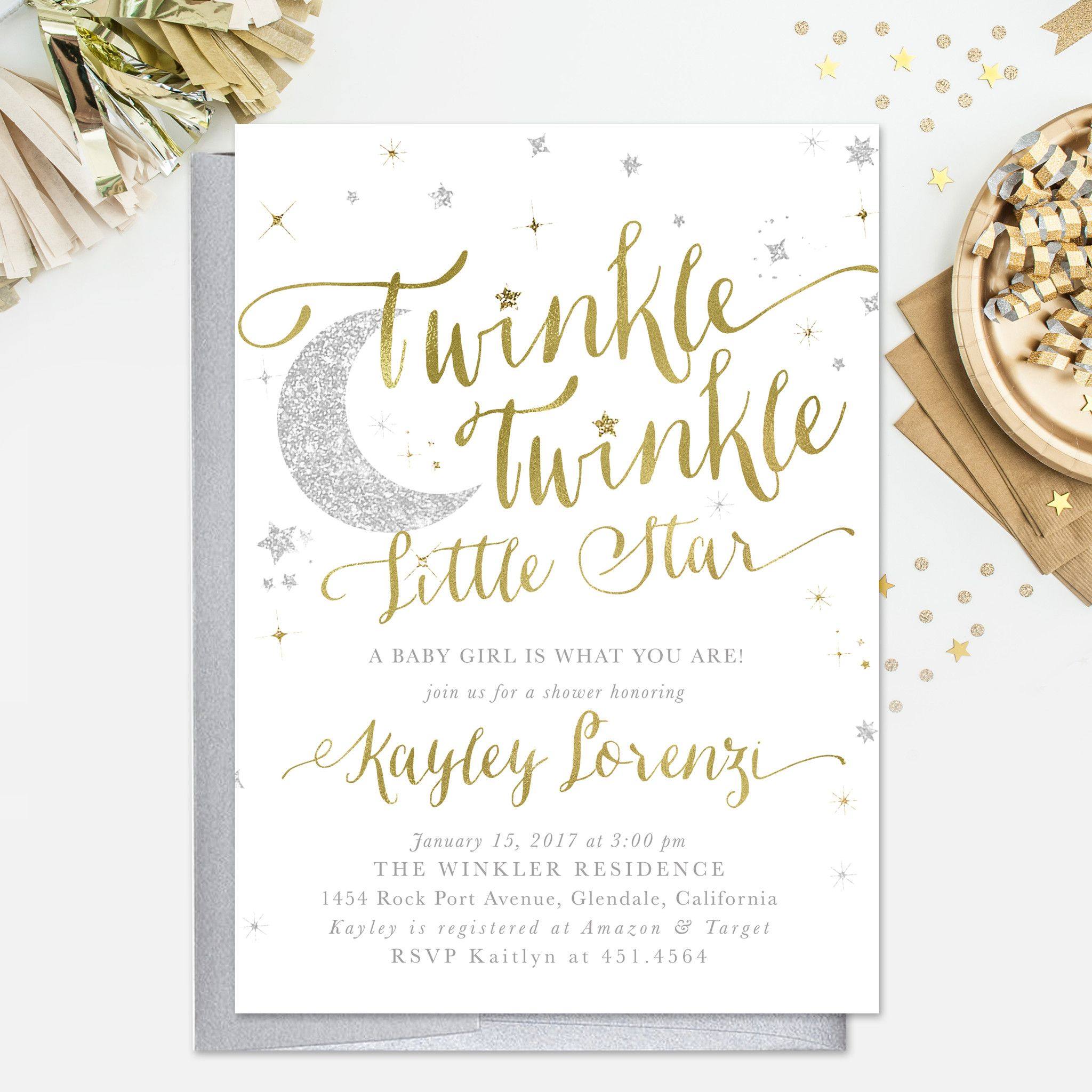 Twinkle Twinkle Little Star Boy or Girl Baby Shower Invitation ...