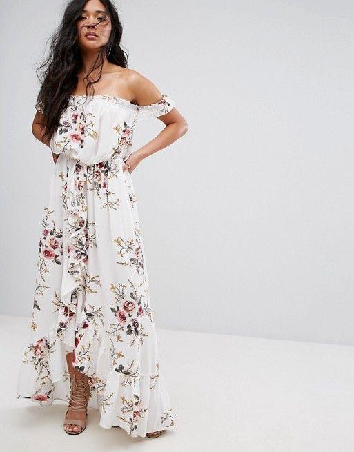 82688df6aa400a Boohoo Floral Off Shoulder Ruffle Maxi Dress
