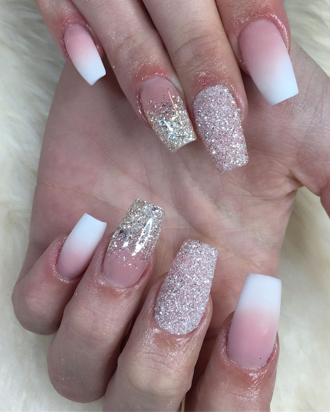 Ombre Pink And Glitter Nails Pink Glitter Nails Pink Nails Ombre Nails Glitter