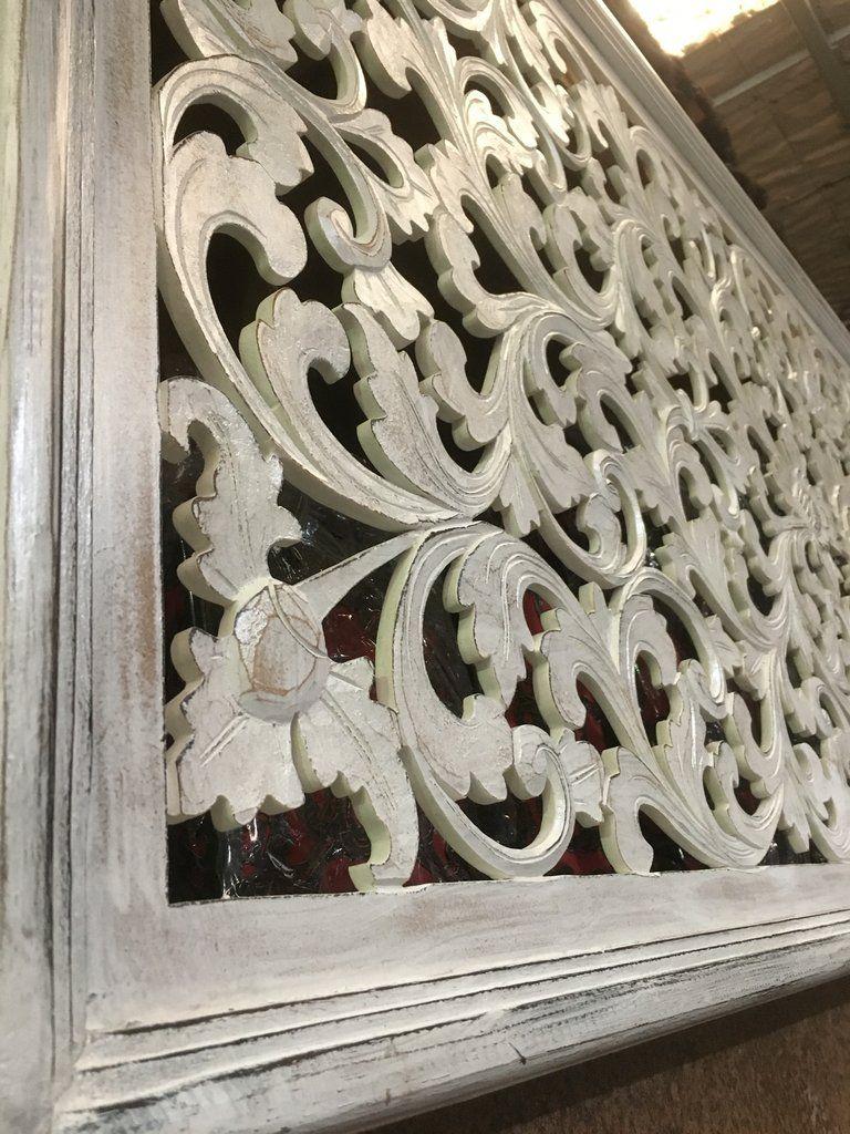Balinese Hand Carved Wooden Bed Head Board 1874 Ornamen Ukiran