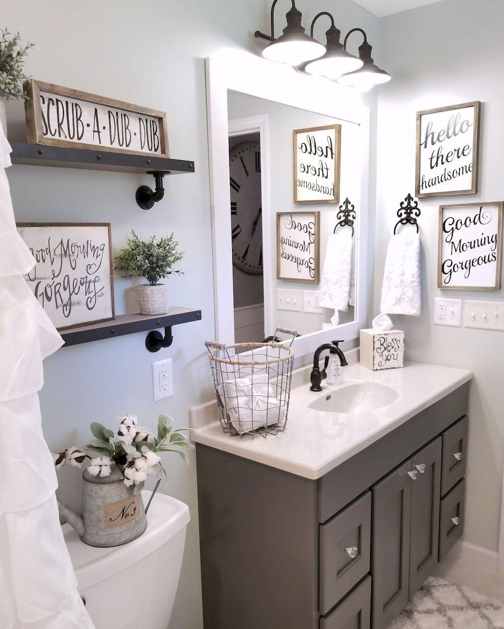 110 spectacular farmhouse bathroom decor ideas (16   Gray cabinets ...