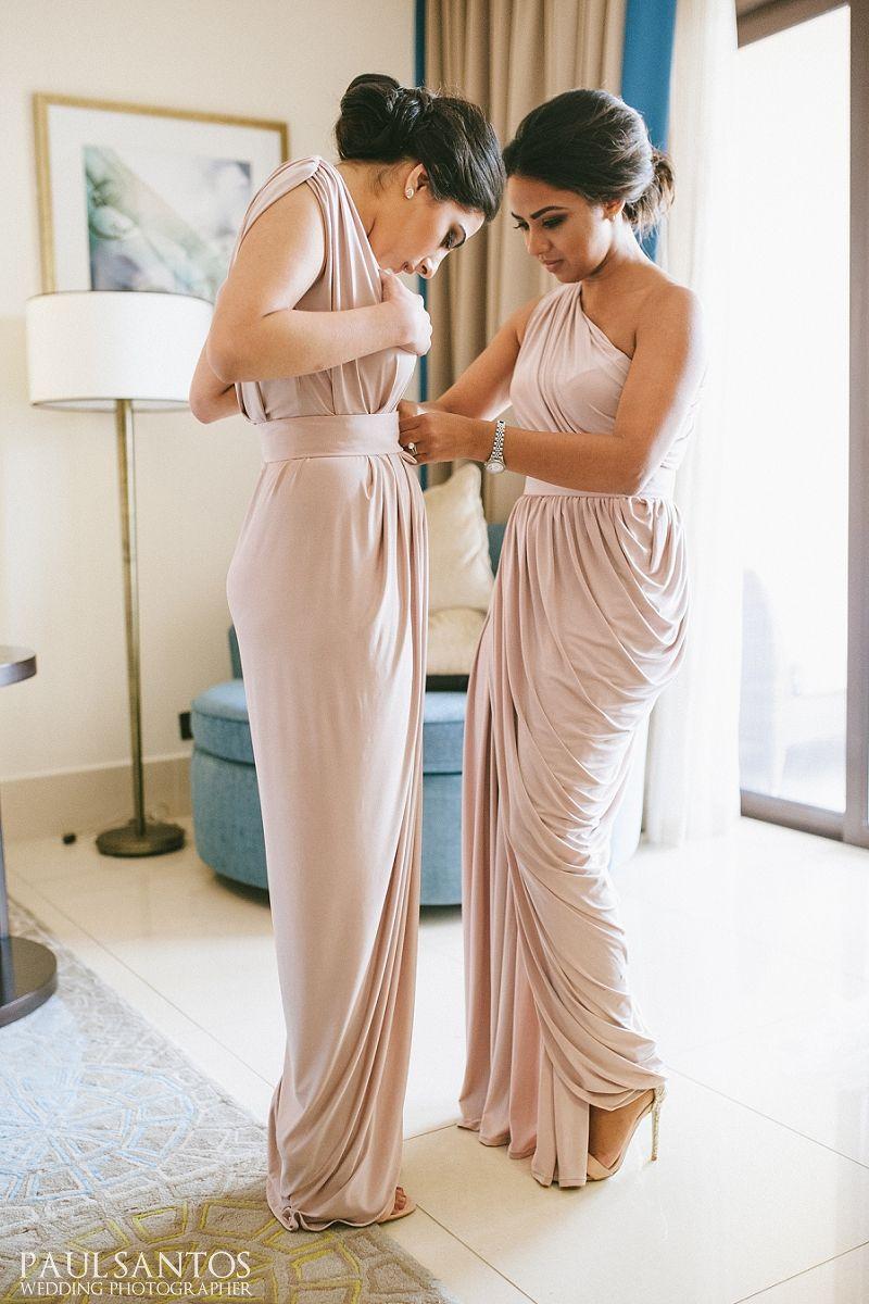 Wedding Nude Bridesmaid Dress dubai destination wedding bridesmaids wearing pia gladys perey dress in nude colour