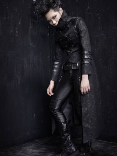 Black Long to Short Gothic Military Trench Coat for Women ...