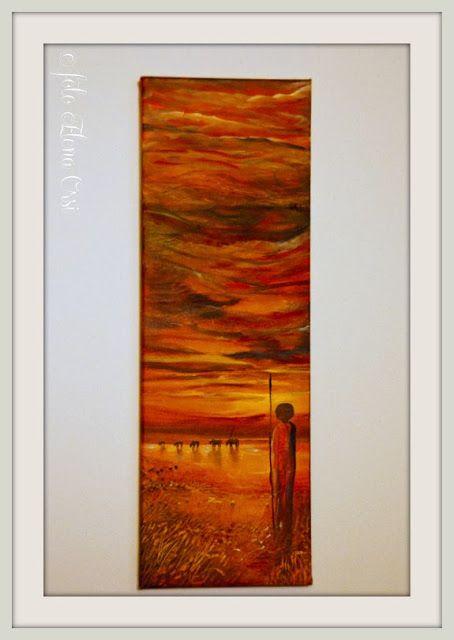 dipinto su tela con base in carta di riso