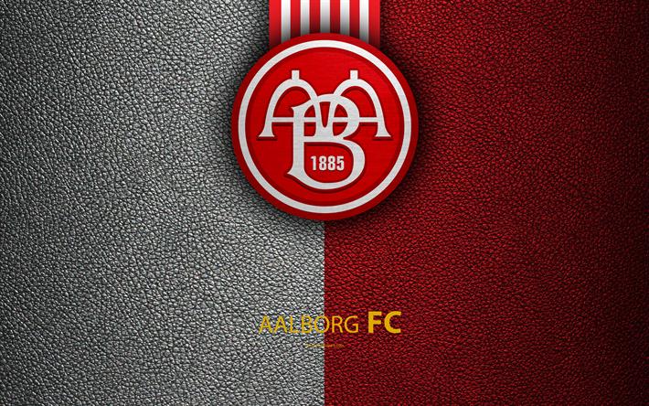 Download Wallpapers Aalborg Bk 4k Logo Leather Texture Danish