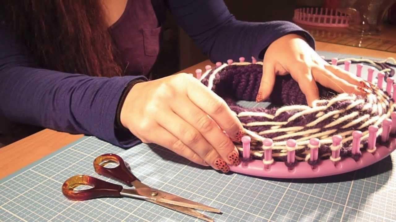 Mütze/Beanie mit Muster stricken mit dem Knitting Loom bzw ...