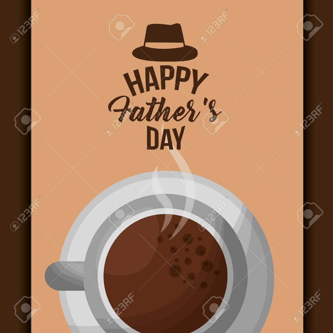 happy fathers day card top view hot coffee cup vector illustration