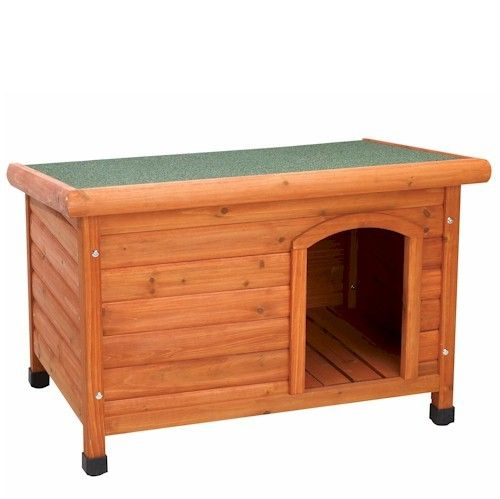 Wooden Doghouse With Raised Feet And Offset Door To Keep Your Dog
