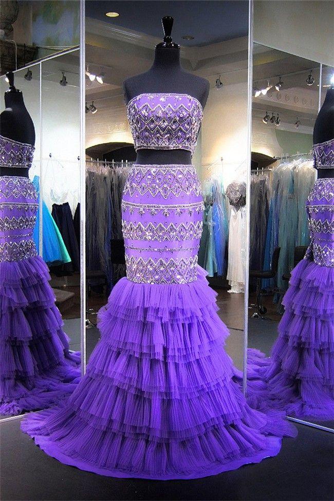Lavender Tulle Prom Dresses
