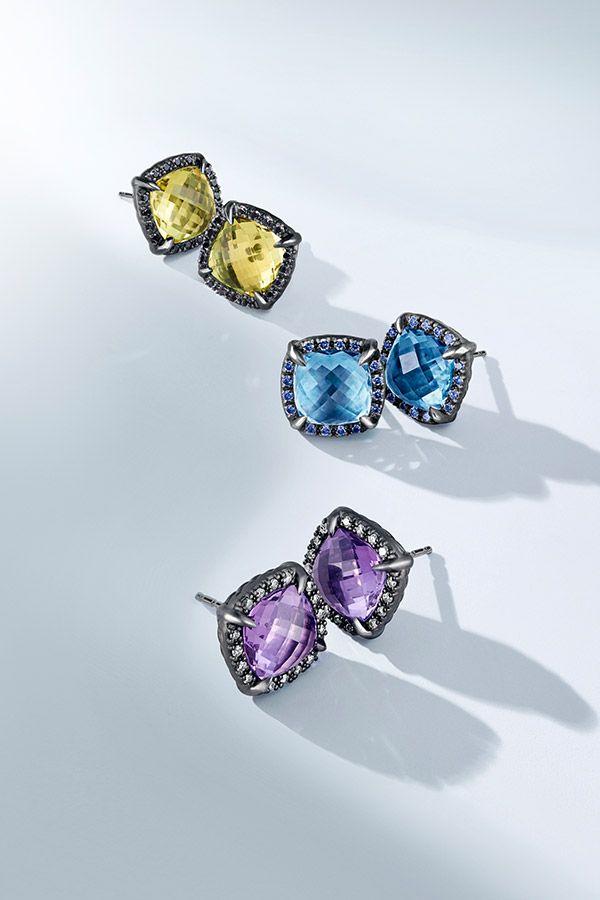Chatelaine stud earrings with gemstones.