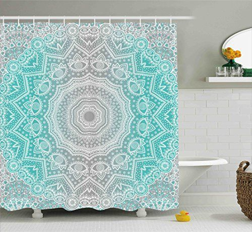 Grey And Turquoise Shower Curtain By Ambesonne Primitive Https