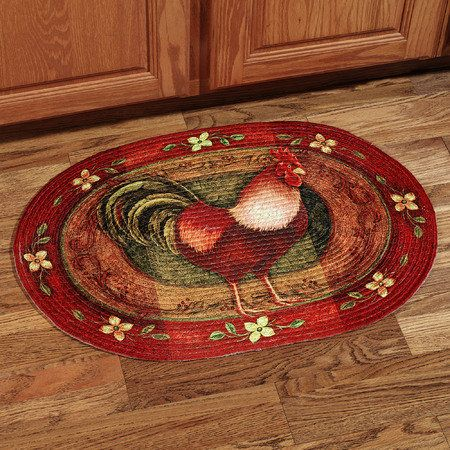 Rooster Braided Oval Rug | Rooster kitchen decor, Rooster ...