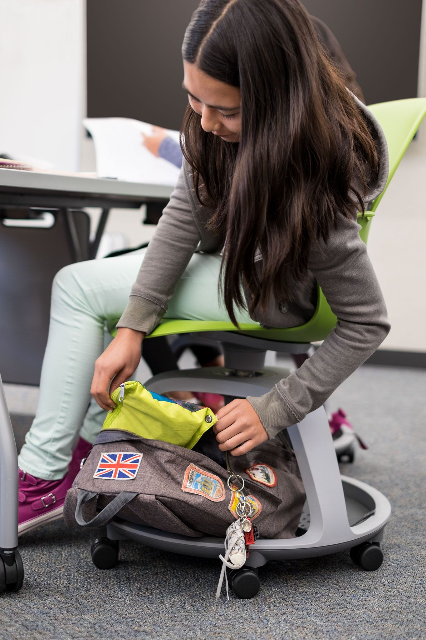 Classroom Backpack Storage with the Steelcase Node Chair
