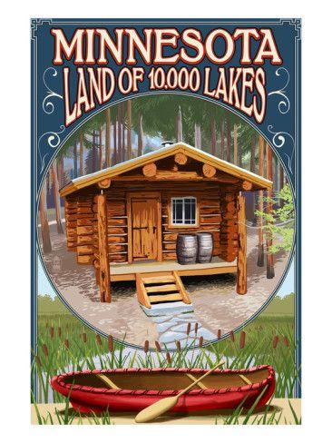 Minnesota Cabin And Lake Prints By Lantern Press At