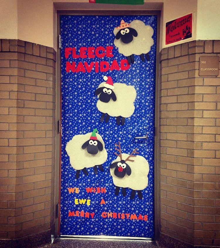 """Melina on Instagram: """"My classroom door  #feliznavidad #fleecenavidad #merrychristmas #christmasdoor #doorcontest #sheep #christmas #spanishteacher #spanishclass…"""" #doordecoratingcontest"""