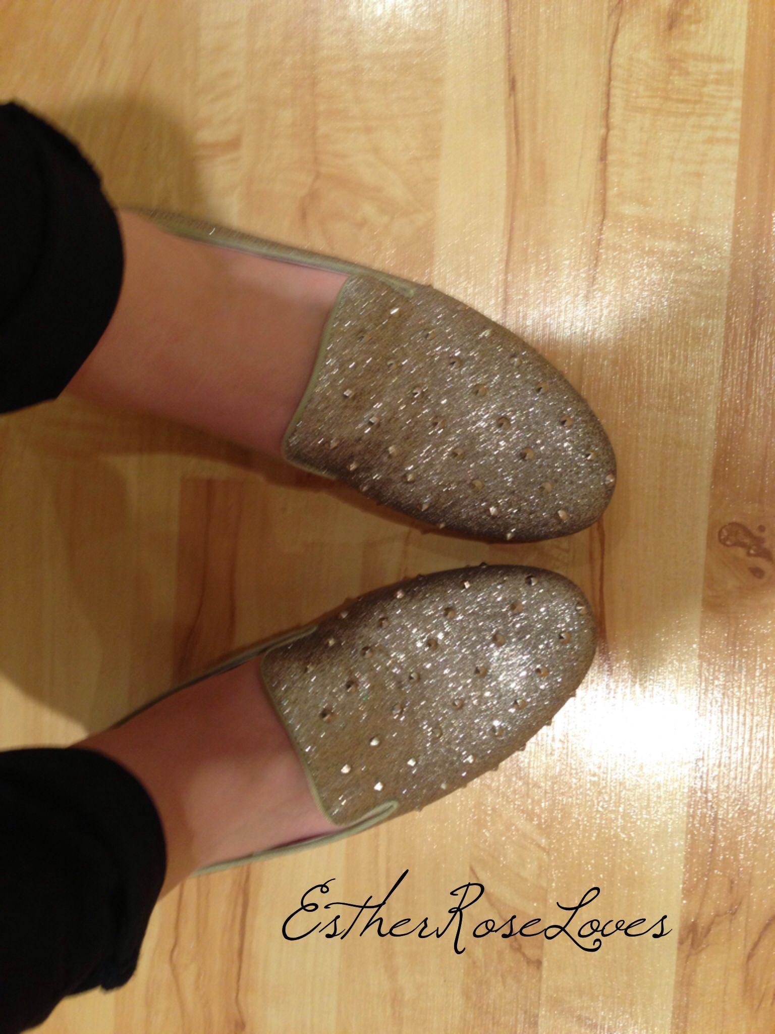 || gold glitter studded Steve Madden slipper loafers ||