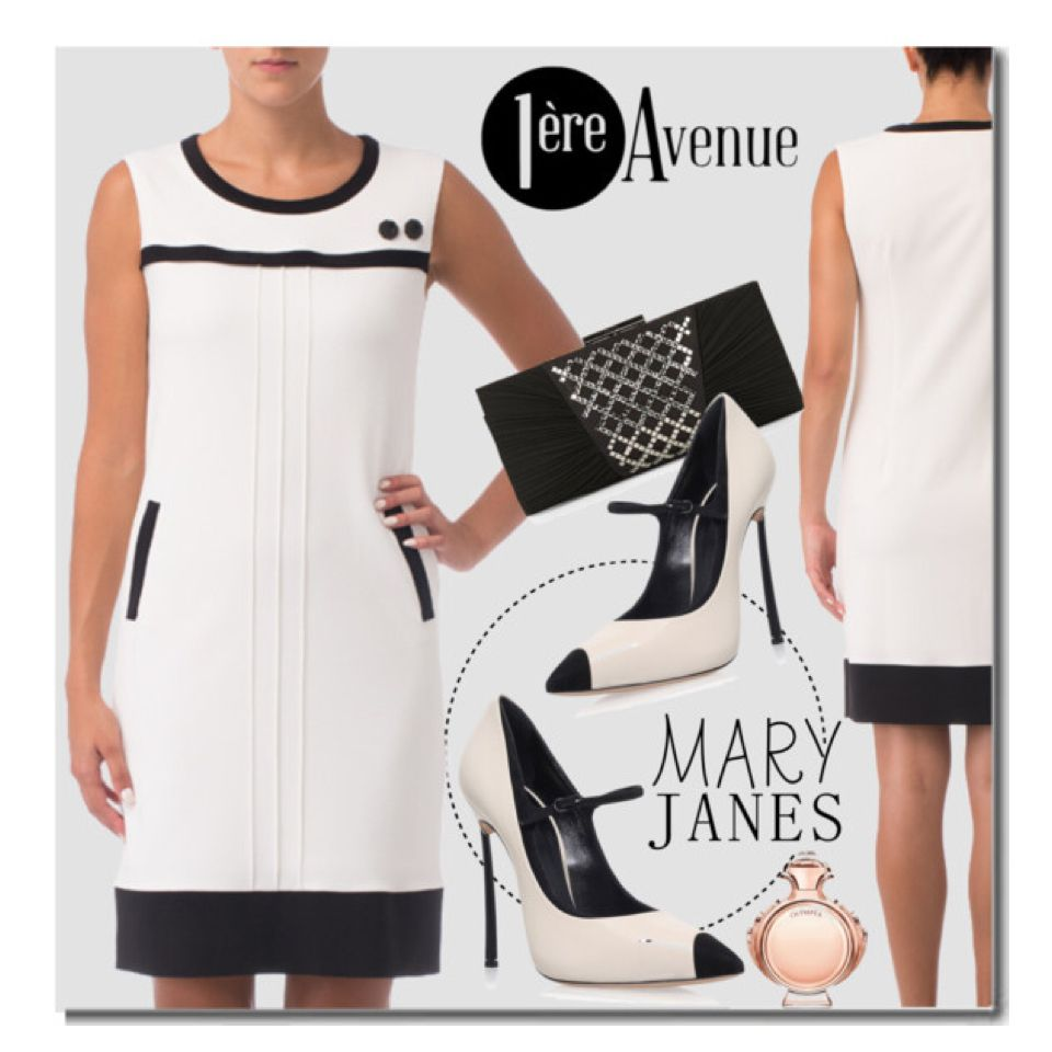 Sweet Mary Janes With Joseph Ribkoff White and Black Dress  size 2-22 available in store www.1ereavenue.com  dress:http://www.1ereavenue.com/joseph+ribkoff+dress+style+163437-p10168/s02/PO0001/?setCountry=CA  #maryjanes #blackandwhite #classy #cocktaildress #premiereavenueboutique #premiereavenue #JosephRibkoff #polyvore #polyvorecontest