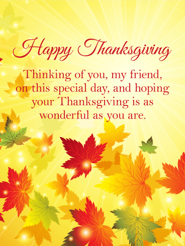Thinking Of You Thanksgiving Card For Friends This Beautiful Happy