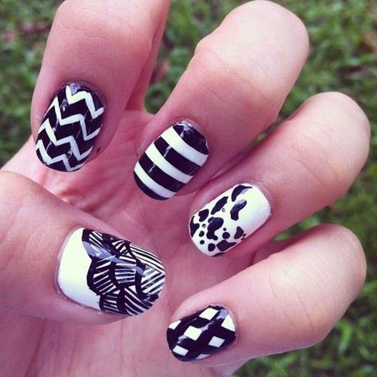 Cute Black and White Nails - Cute Black And White Nails Black And White Nails Pinterest