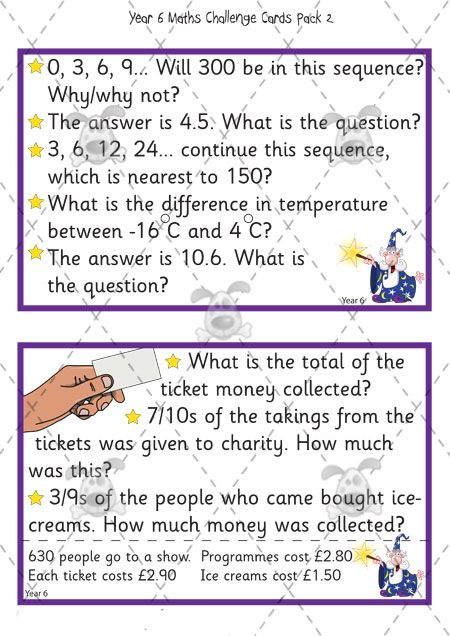 Teacher\'s Pet Activities & Games » Year 6 Maths Challenge Cards ...