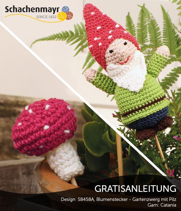 Gratisanleitung: Blumenstecker Gartenzwerg mit Pilz aus Catania ...
