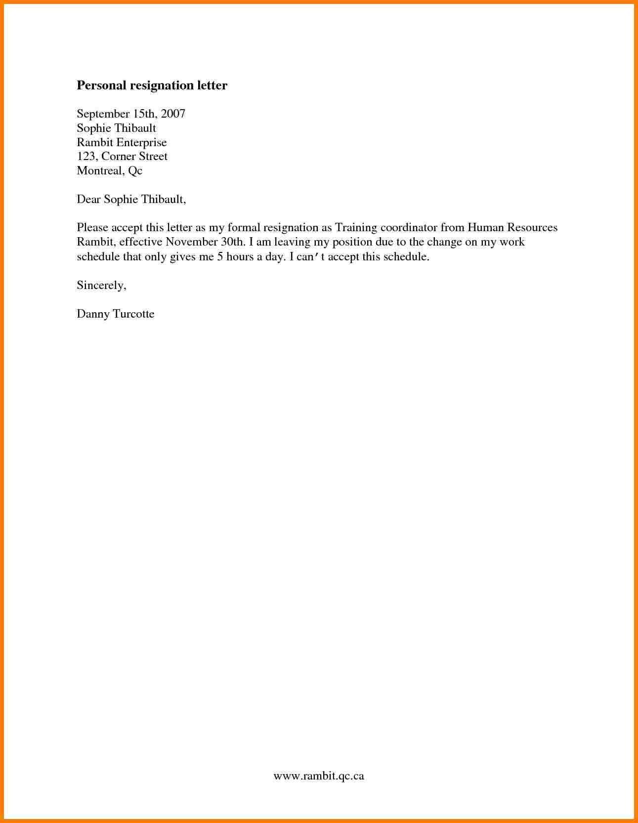 easy resignation letter