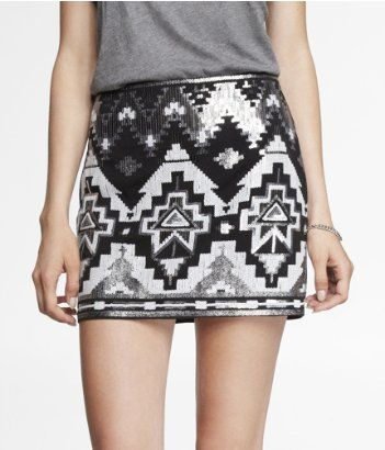SEQUIN EMBELLISHED MINI SKIRT | Express...pairing this up with my ...