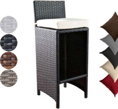 Poly-Rattan Outdoor Barhocker LENOX mit Sitzkissen in verschiedenen