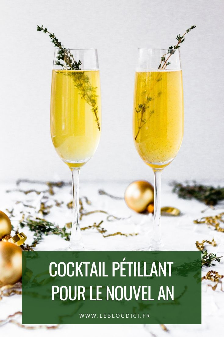 Découvrez notre recette de cocktail pétillant pour le Nouvel An. Facile à faire mais festive à souhait, cette recette est parfaite pour commencer le repas de réveillon en douceur - Magazine Esprit d'Ici #repasnouvelan