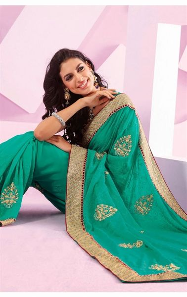Picture of Glorious Greenish Blue Party Wear Saree