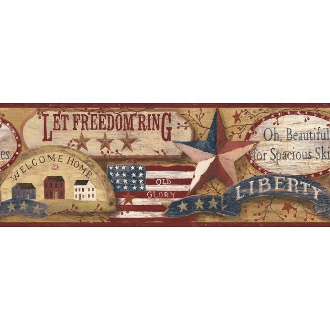 York Wallpaper Rf3638bd Folk Heart Ii Americana Border Products