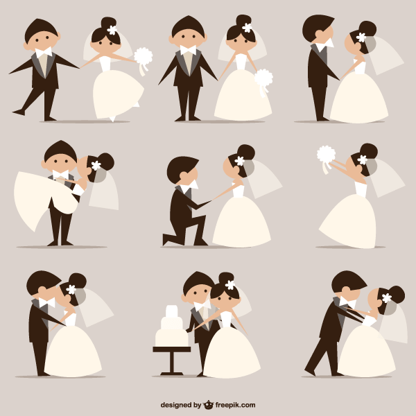 Wedding Pictures Newly Married Couples Vector Wedding Illustration Wedding Vector Wedding Couples