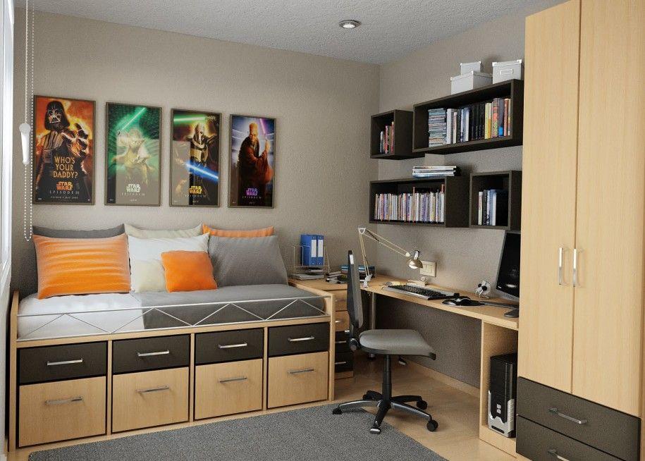 creative bedroom beside small workspace under black bookshelf
