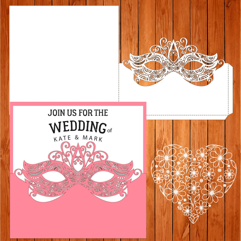 Invitación de la boda tarjeta plantilla antifaz, arabescos, figuras ...