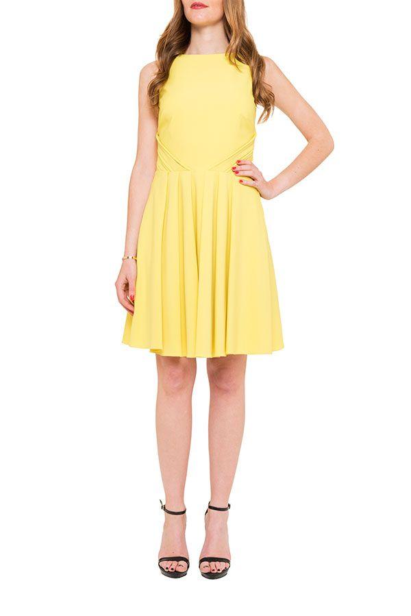 badgley mischka, dress, robe, summer dress, yellow, yellow dress, location robe, my couture corner, chic, glamour