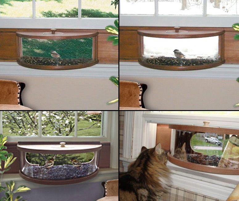 Panoramic In House Window Bird Feeder With One Way Mirror Window