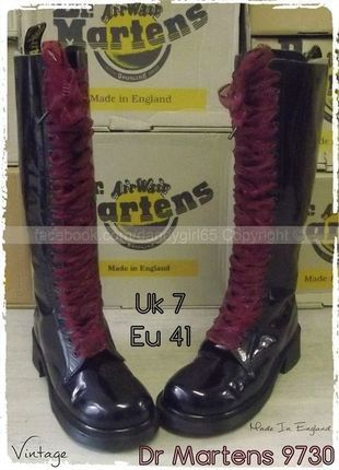 332844155f13 DISPONIBLE ☠ Dr Martens 9730 UK7 P41 Made In England !! 20 Trous collector  cuir lisse noir vernis  dandygirl65