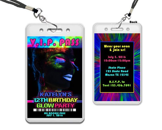 Glow Party Invitations - Glow Party VIP Pass - Girl Glow In The Dark - fresh formal vip invitation letter