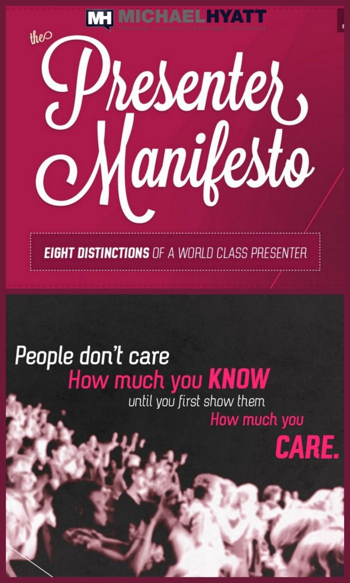 8 things to keep in mind when preparing your next presentation by Eric Feng. http://michaelhyatt.com/slides/presenters-manifesto#respond