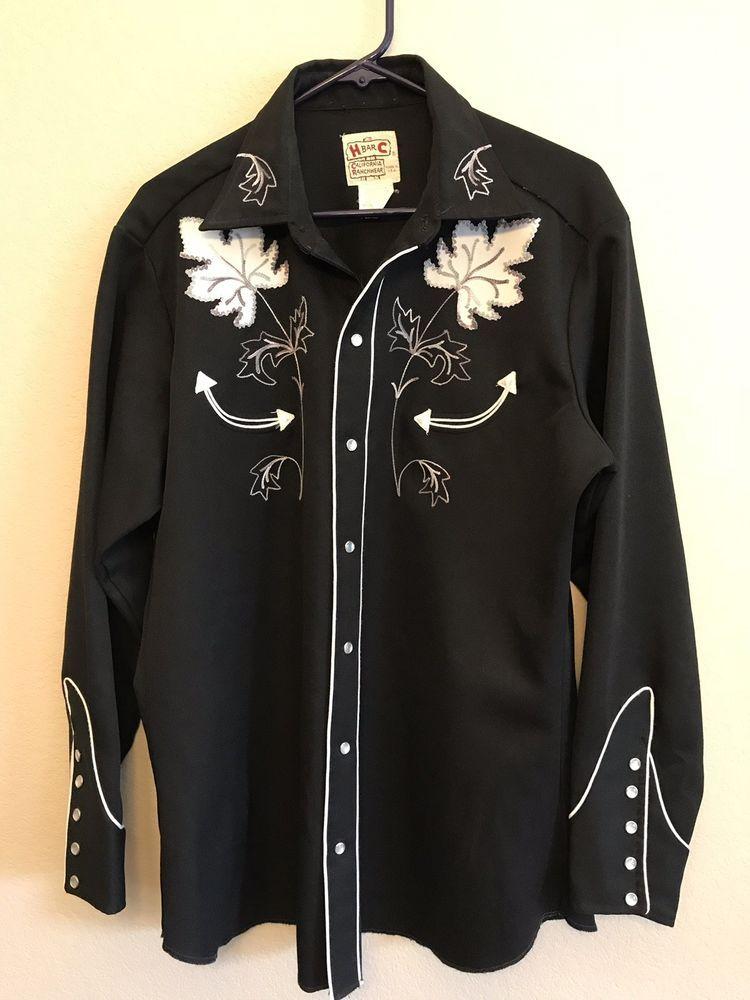 a6b5b907 H Bar C California Ranchwear Western Shirt Men's 16 1/2 Black Vintage  Polyester #HBarC #Western