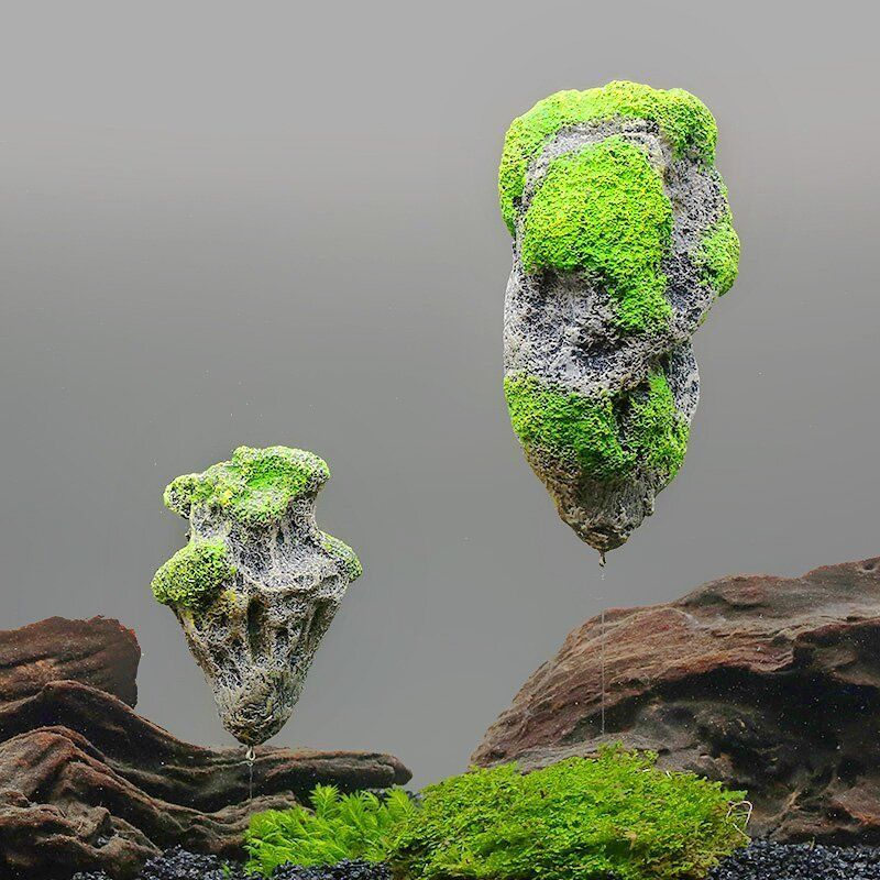 Aquarium floating rocks suspended stones for avitar magic for Rocks for fish tank