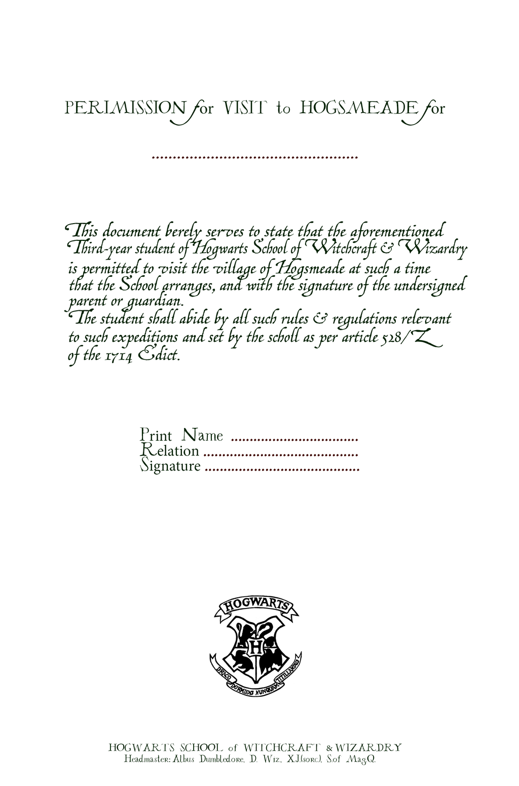 Permission for Visit Hogsmeade from HP 3 by LorduDesign.deviantart.com on @DeviantArt