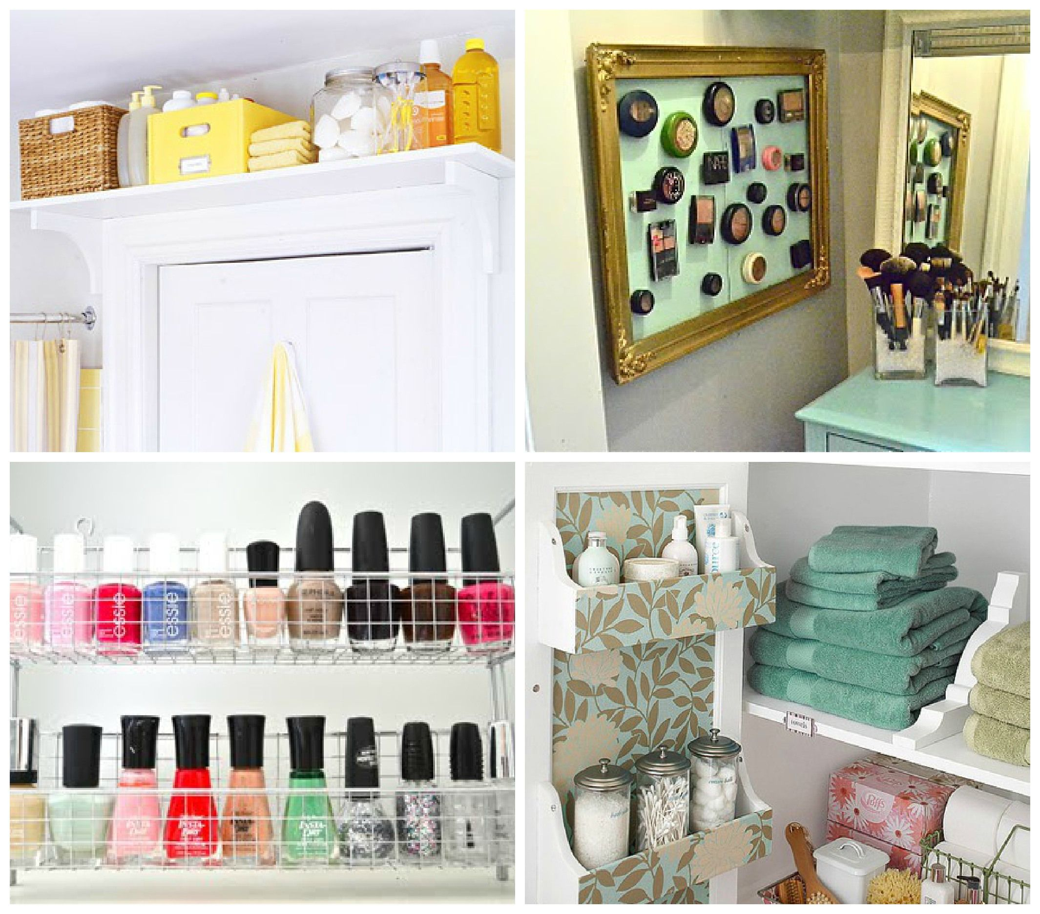 Storage ideas for small spaces - particularly like the over door shelves & hanging baskets.