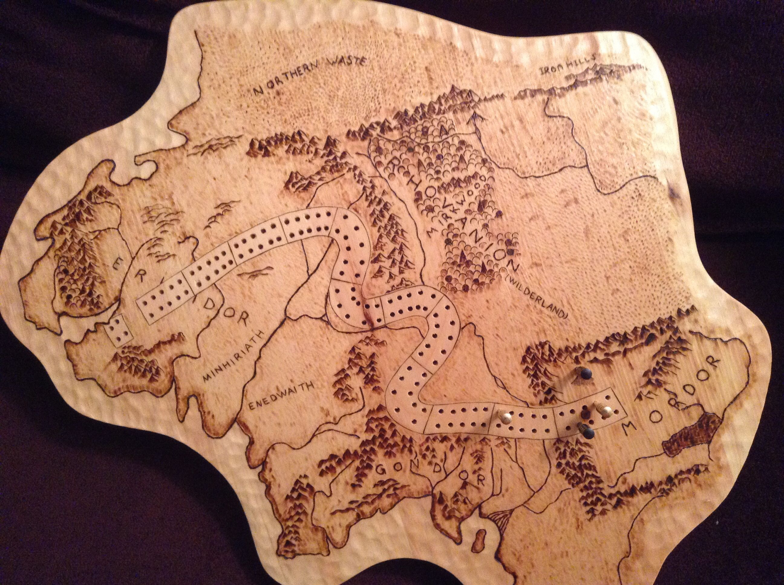 Middle earth cribbage board I made for a friend. | I like presents ...