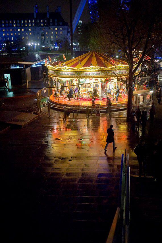 London photography, funfair, merry go round, colour photo ...