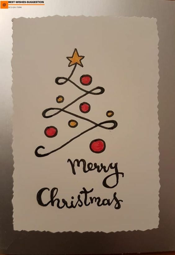 Design Merry Christmas Card Drawing