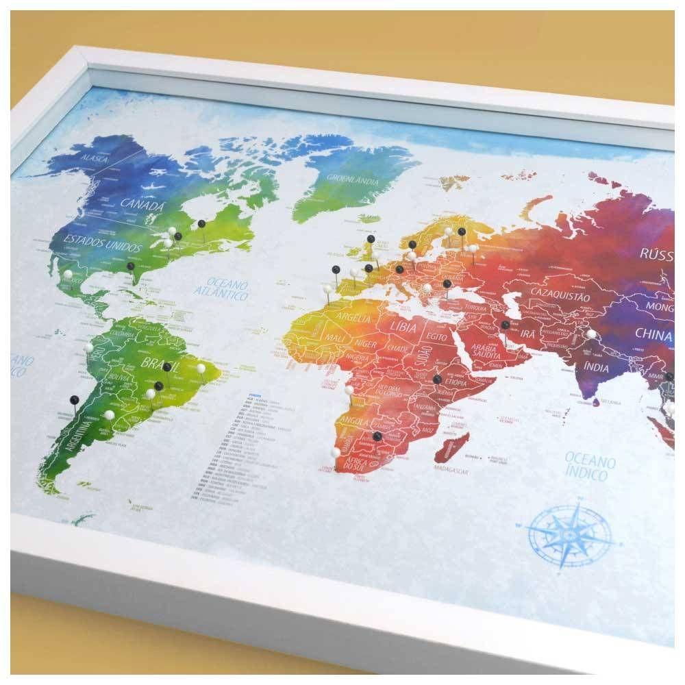 Quadro Mapa Mundi Colorido Com 100 Pins Alfinetes Para Marcar