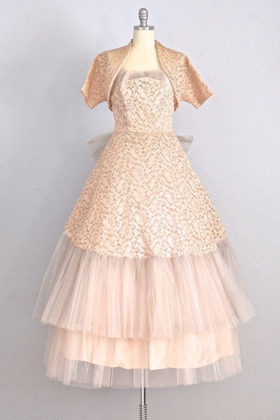 vintage 1950s dress strapless dress wedding by PickledVintage