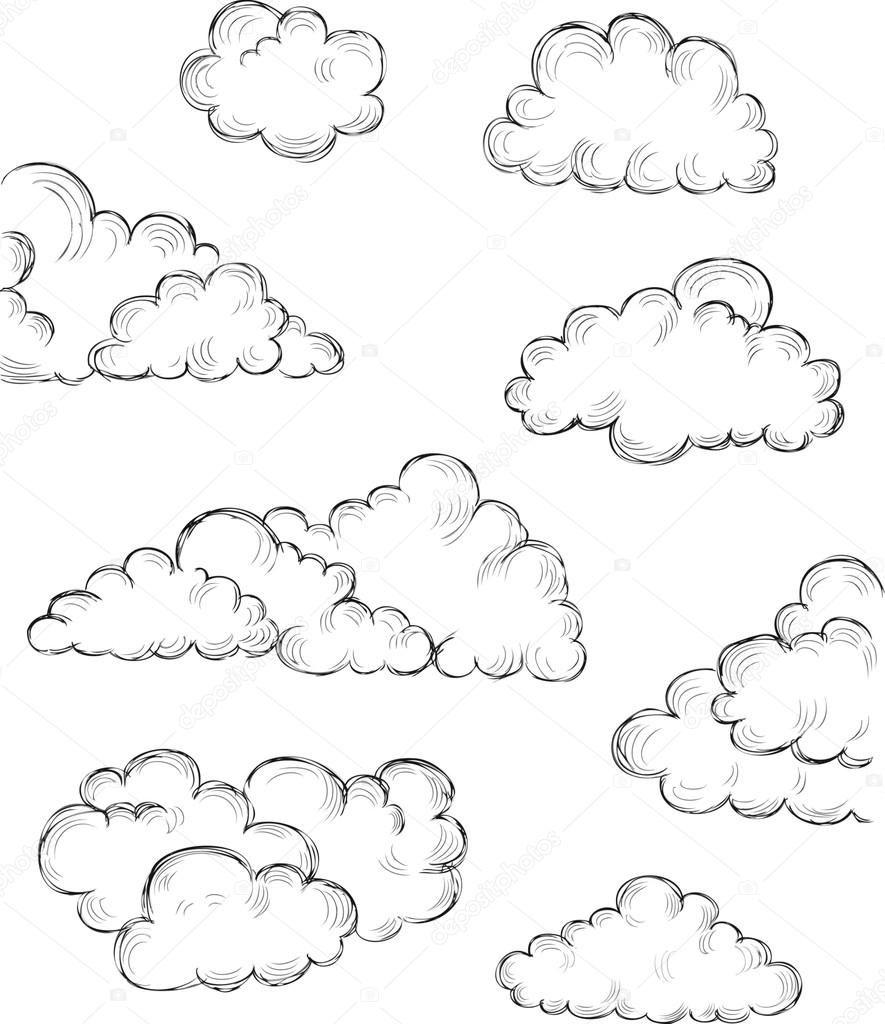Unduh Hand Drawn Clouds Stok Ilustrasi 26210759 Dibujos De